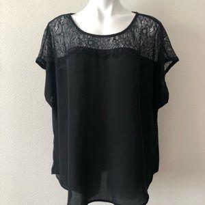 Torrid Black Lace Short Sleeve Pullover Blouse